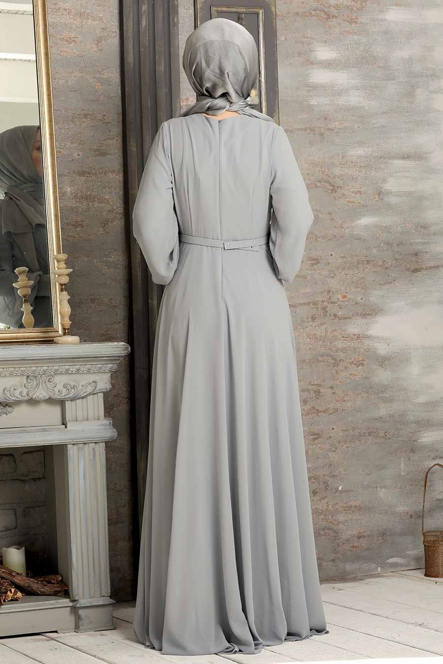 Tesettürlü Abiye Elbise - Kemerli Gri Tesettür Abiye Elbise 5422GR