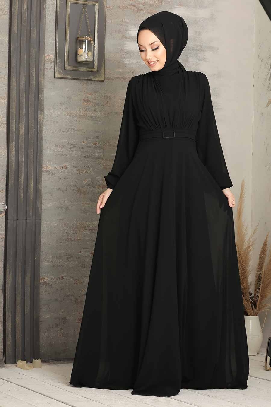 Tesettürlü Abiye Elbise - Kemerli Siyah Tesettür Abiye Elbise 5422S