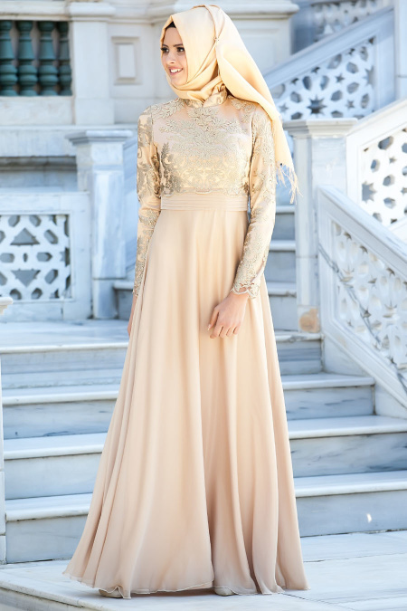 Tesettürlü Abiye Elbise - Nervür Detaylı Gold Elbise 2228GOLD