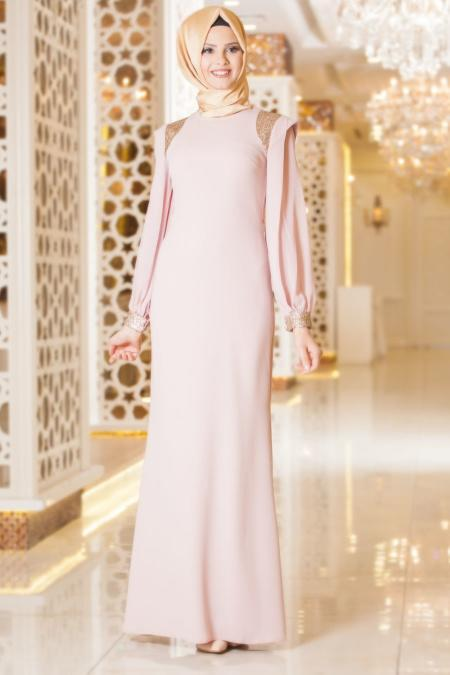 Tesettürlü Abiye Elbise - Omuzları Payet Detaylı Pudra Tesettür Abiye Elbise 3544PD
