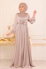 Tesettürlü Abiye Elbise - Krep Saten Bej Tesettür Abiye Elbise 14251BEJ - Thumbnail