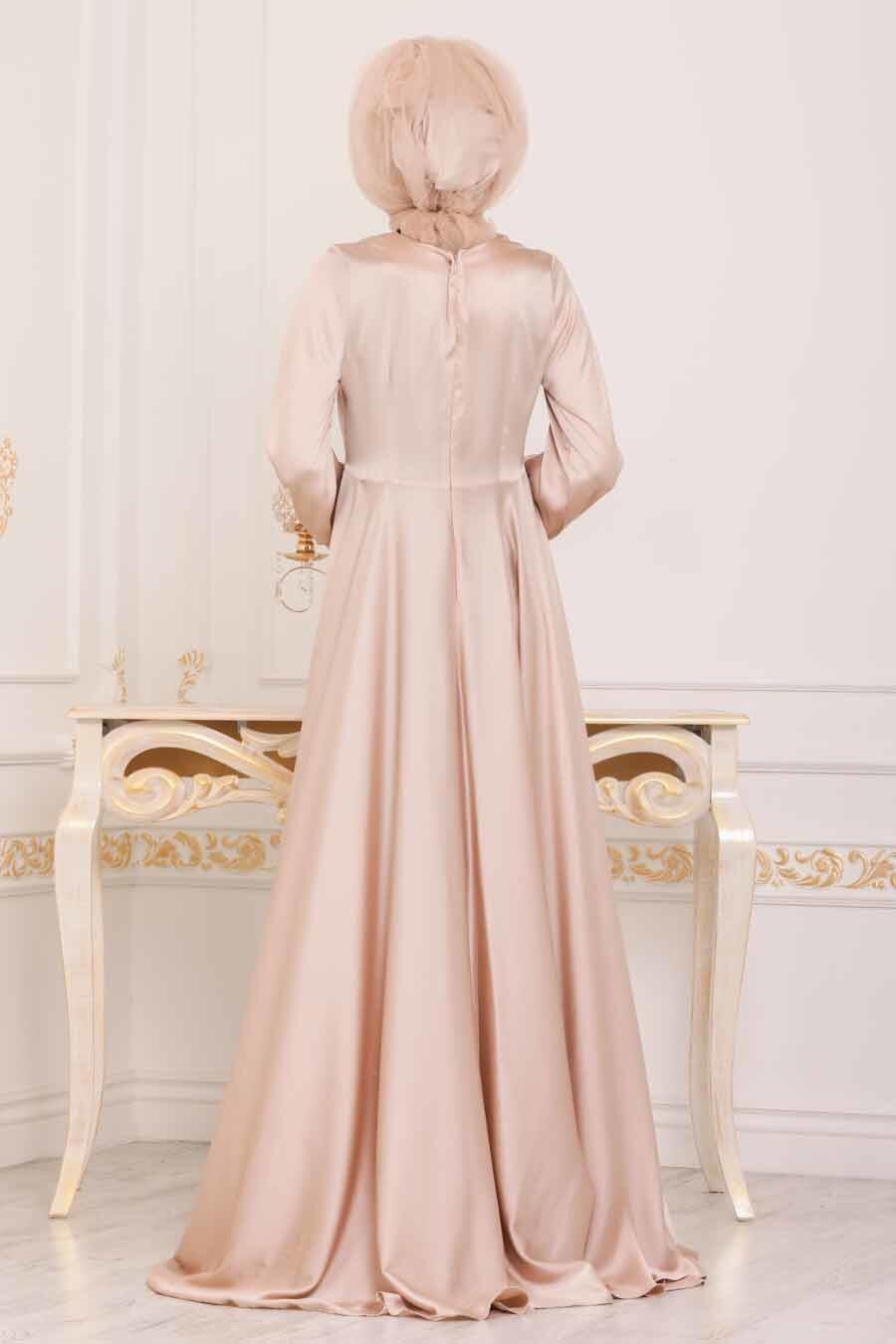 Tesettürlü Abiye Elbise - Krep Saten Bej Tesettür Abiye Elbise 14251BEJ