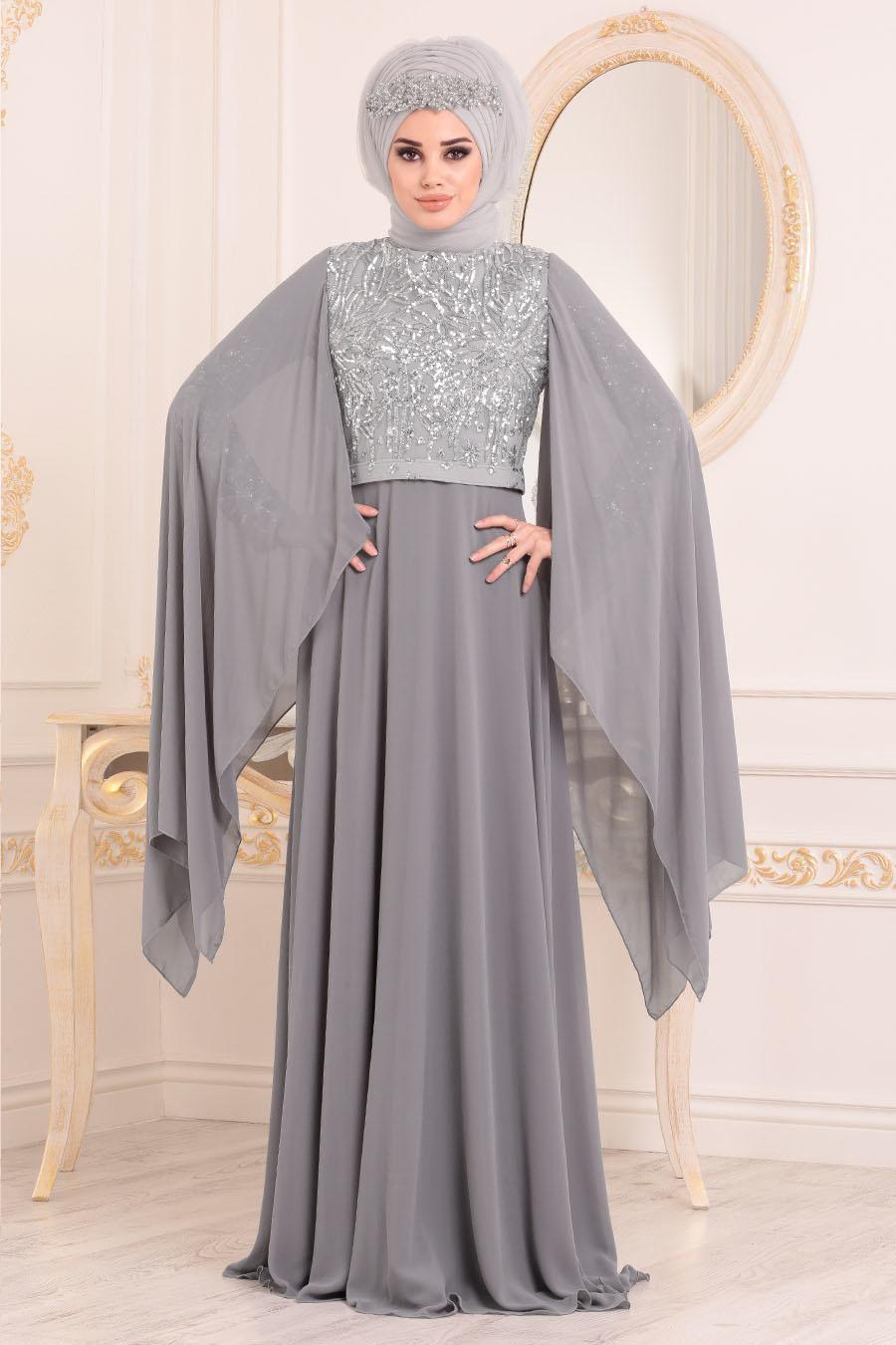 Tesettürlü Abiye Elbise - Payet Detaylı Gri Tesettür Abiye Elbise 3284GR