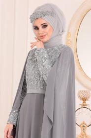 Tesettürlü Abiye Elbise - Payet Detaylı Gri Tesettür Abiye Elbise 3284GR - Thumbnail