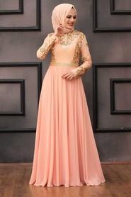 Tesettürlü Abiye Elbise - Payet Detaylı Somon Tesettür Abiye Elbise 75790SMN - Thumbnail