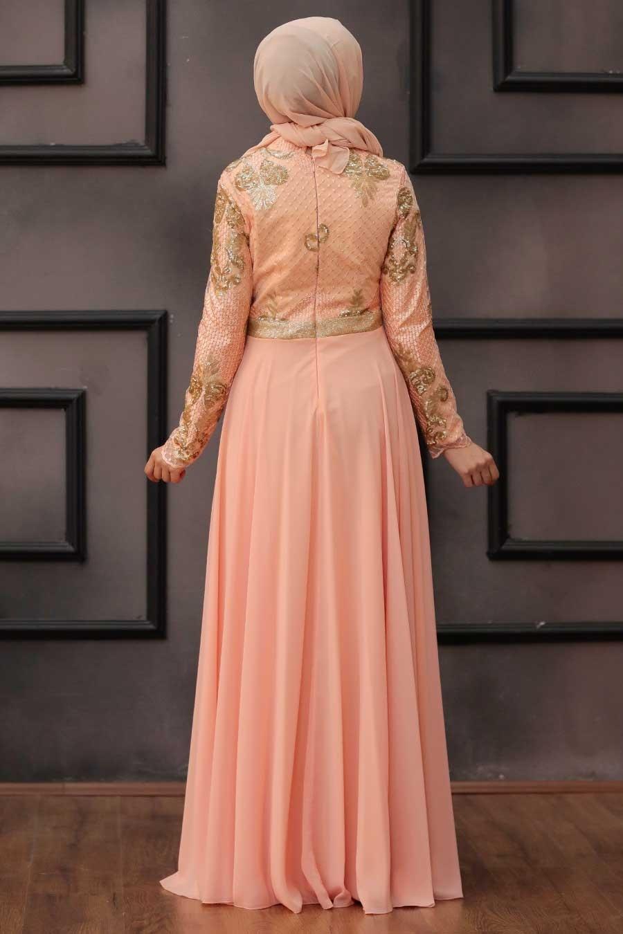 Tesettürlü Abiye Elbise - Payet Detaylı Somon Tesettür Abiye Elbise 75790SMN