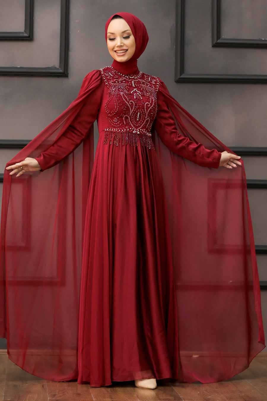 Tesettürlü Abiye Elbise - Pelerinli Bordo Tesettür Abiye 22162BR