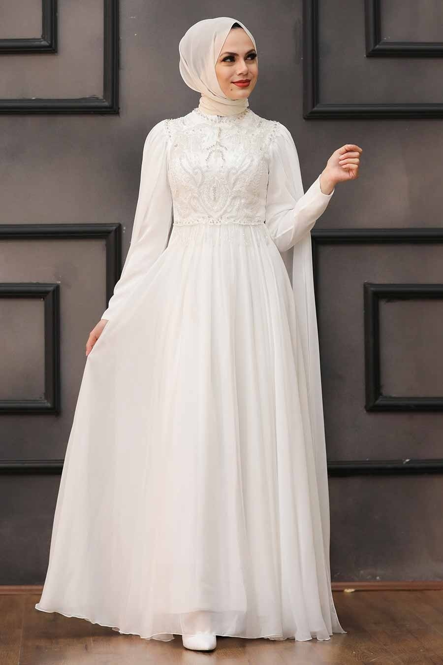 Tesettürlü Abiye Elbise - Pelerinli Ekru Tesettür Abiye 22162E