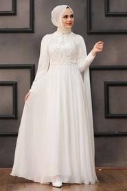 Tesettürlü Abiye Elbise - Pelerinli Ekru Tesettür Abiye 22162E - Thumbnail
