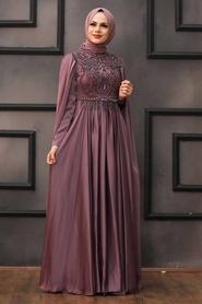 Tesettürlü Abiye Elbise - Pelerinli Koyu Gül Kurusu Tesettür Abiye 22162KGK - Thumbnail
