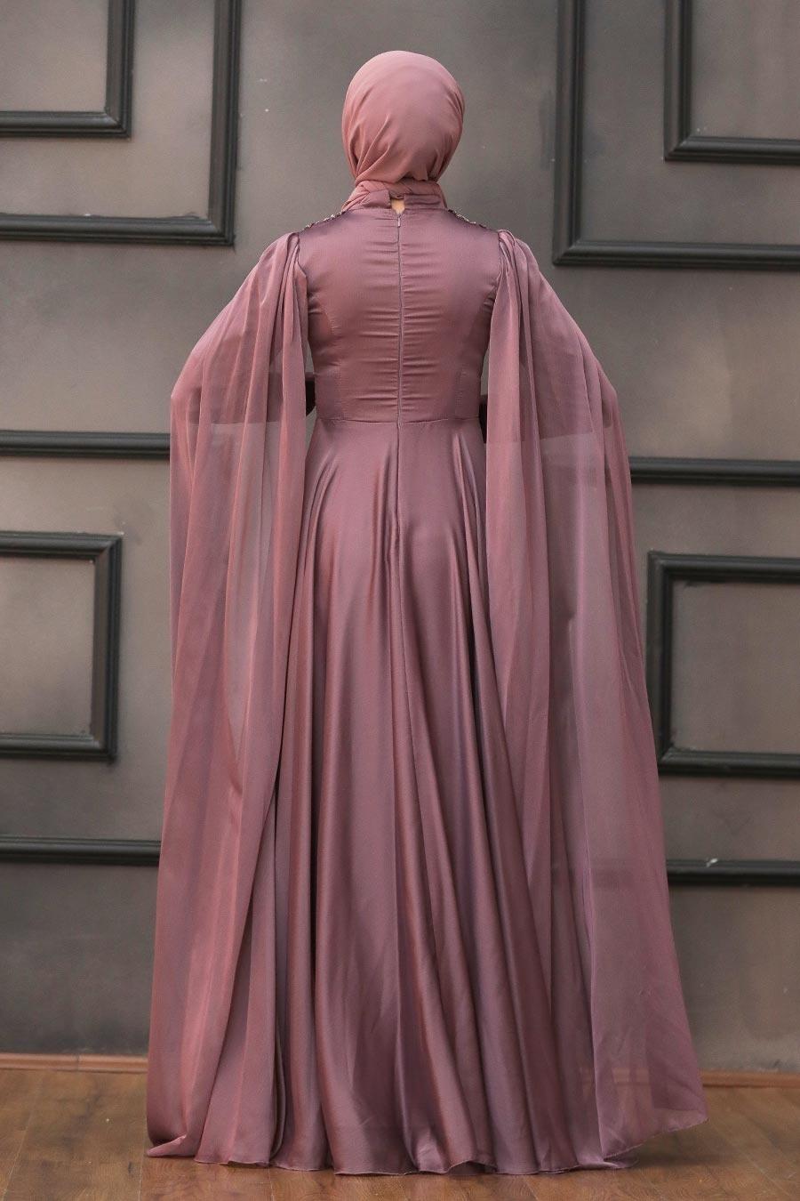 Tesettürlü Abiye Elbise - Pelerinli Koyu Gül Kurusu Tesettür Abiye 22162KGK