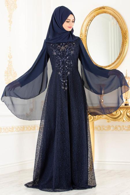 Tesettürlü Abiye Elbise - Pelerinli Lacivert Tesettür Abiye Elbise 3287L