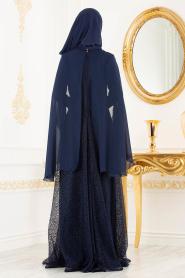 Tesettürlü Abiye Elbise - Pelerinli Lacivert Tesettür Abiye Elbise 3287L - Thumbnail