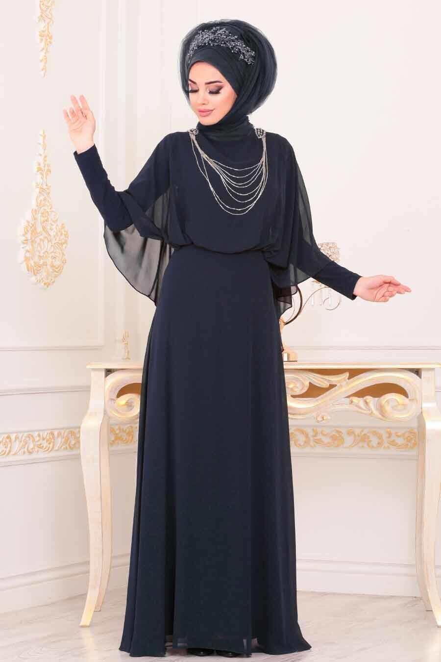 Tesettürlü Abiye Elbise - Pelerinli Lacivert Tesettür Abiye Elbise 3829L