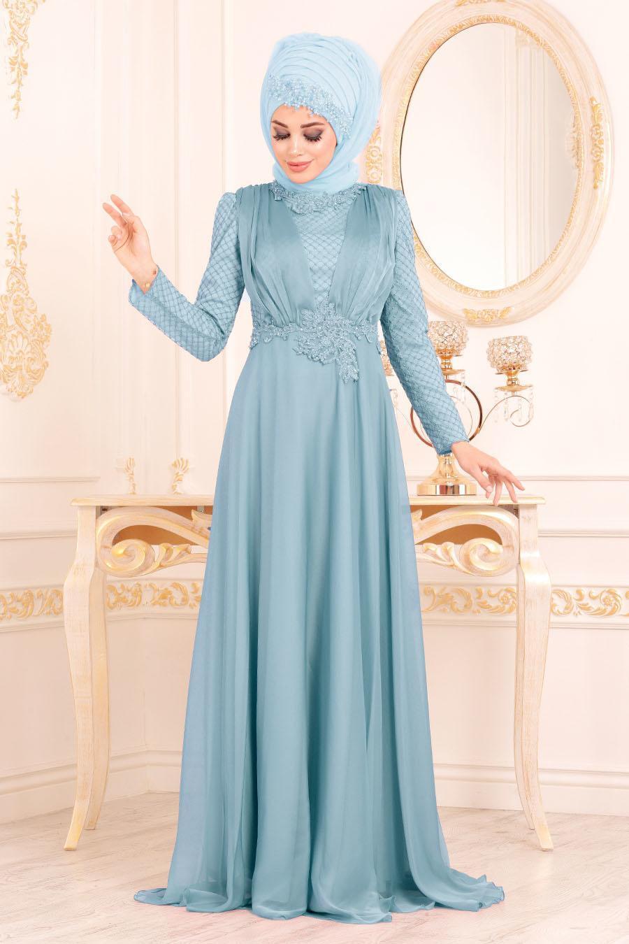 Tesettürlü Abiye Elbise - Pelerinli Mavi Tesettür Abiye Elbise 37390M