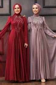 Tesettürlü Abiye Elbise - Pelerinli Vizon Tesettür Abiye 22140V - Thumbnail