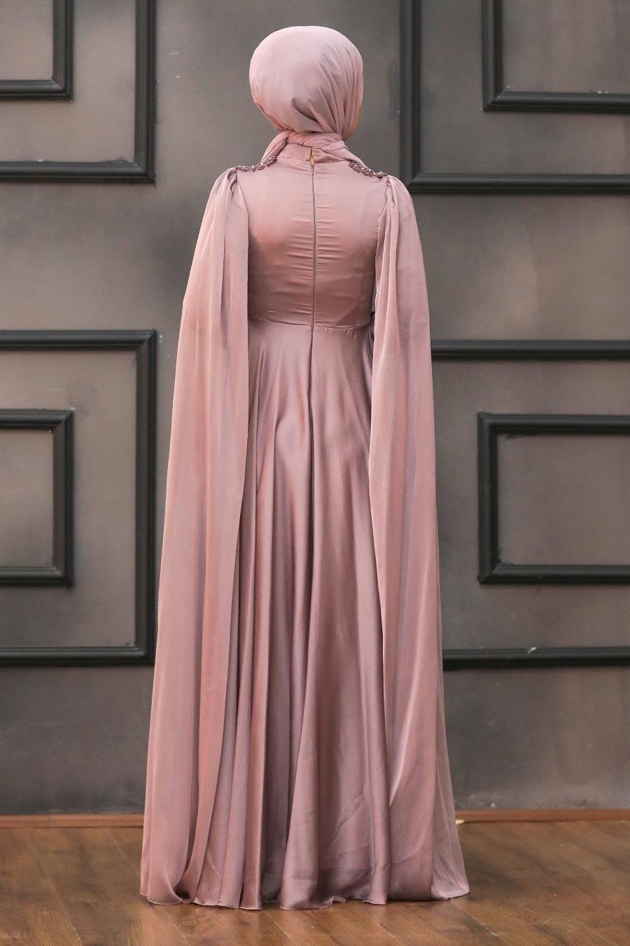 Tesettürlü Abiye Elbise - Pelerinli Vizon Tesettür Abiye 22140V