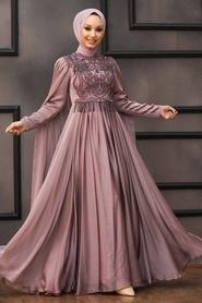 Tesettürlü Abiye Elbise - Pelerinli Vizon Tesettür Abiye 22162V - Thumbnail