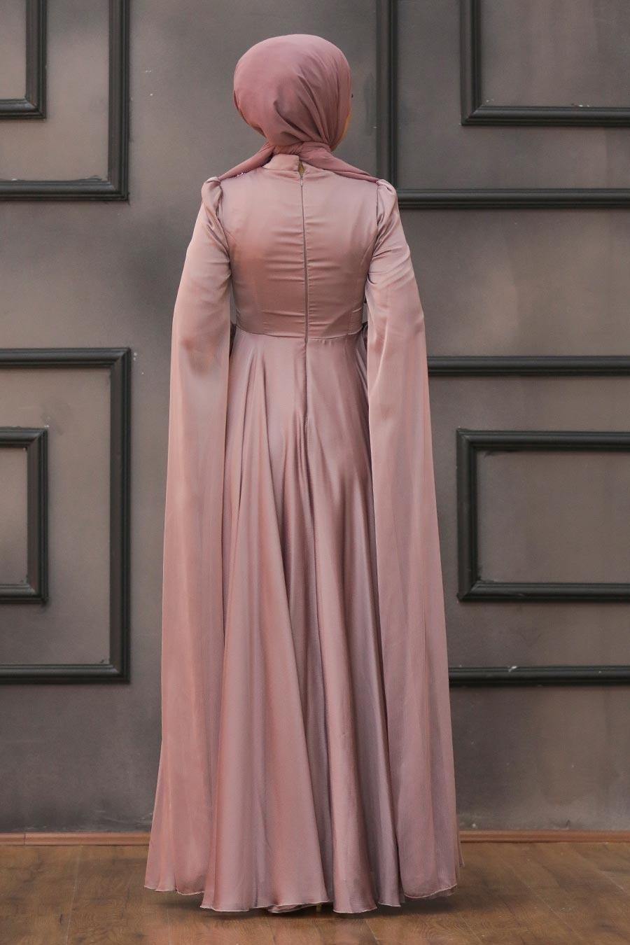 Tesettürlü Abiye Elbise - Pelerinli Vizon Tesettür Abiye 22162V