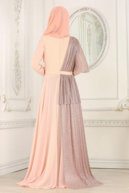 Tesettürlü Abiye Elbise - Pırıltılı Somon Tesettürlü Abiye Elbise 103SMN