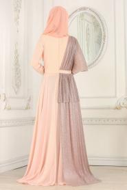 Tesettürlü Abiye Elbise - Pırıltılı Somon Tesettürlü Abiye Elbise 103SMN - Thumbnail