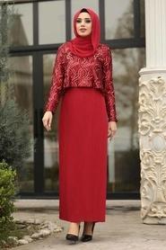 Tesettürlü Abiye Elbise - Pliseli Kırmızı Tesettür Abiye Elbise 3743K - Thumbnail