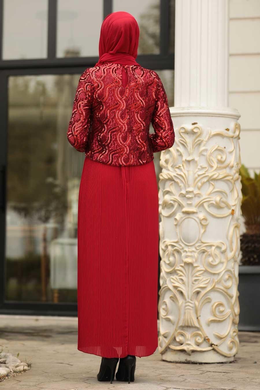Tesettürlü Abiye Elbise - Pliseli Kırmızı Tesettür Abiye Elbise 3743K