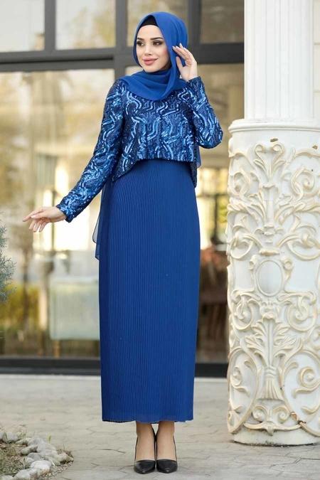 Tesettürlü Abiye Elbise - Pliseli Sax Mavisi Tesettür Abiye Elbise 3743SX