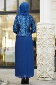 Tesettürlü Abiye Elbise - Pliseli Sax Mavisi Tesettür Abiye Elbise 3743SX - Thumbnail