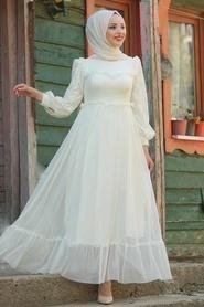 Tesettürlü Abiye Elbise - Puantiyeli Ekru Tesettür Abiye Elbise 38730E - Thumbnail