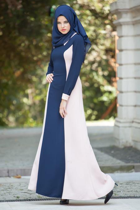 Tesettürlü Abiye Elbise - Pudra / Lacivert Elbise