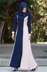 Tesettürlü Abiye Elbise - Pudra / Lacivert Elbise - Thumbnail