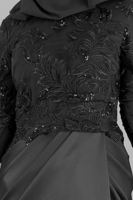 Tesettürlü Abiye Elbise - Pul Detaylı Siyah Tesettür Abiye Elbise 4602S