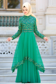 Tesettürlü Abiye Elbise - Pul Payet Detaylı Yeşil Tesettür Abiye Elbise 6375Y - Thumbnail