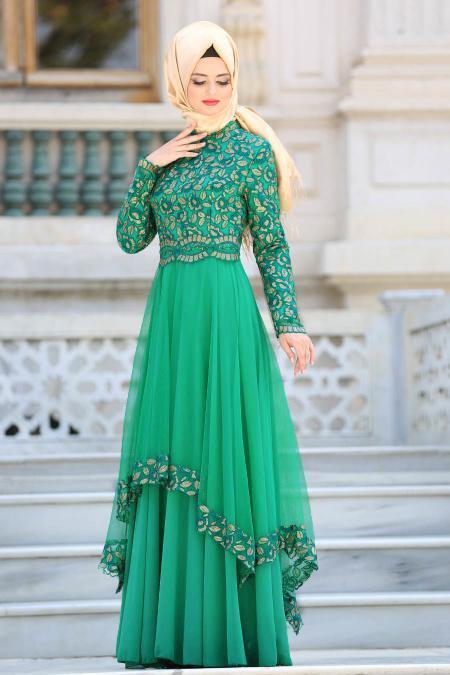Tesettürlü Abiye Elbise - Pul Payet Detaylı Yeşil Tesettür Abiye Elbise 6375Y