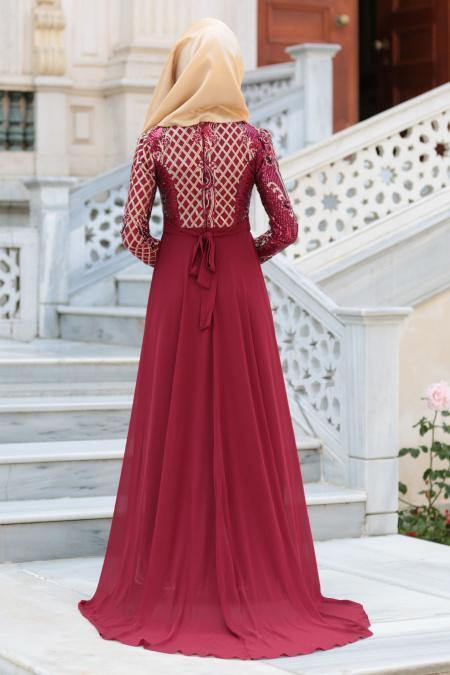 Tesettürlü Abiye Elbise - Pul Payet Kemerli Bordo Tesettür Abiye Elbise 7553BR