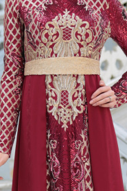 Tesettürlü Abiye Elbise - Pul Payet Kemerli Bordo Tesettür Abiye Elbise 7553BR - Thumbnail