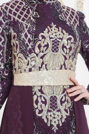 Tesettürlü Abiye Elbise - Pul Payet Kemerli Mor Tesettür Abiye Elbise 7553MOR - Thumbnail