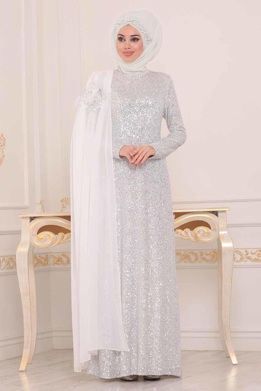 Tesettürlü Abiye Elbise - Pul Payetli Beyaz Tesettür Abiye Elbise 86150B