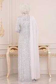 Tesettürlü Abiye Elbise - Pul Payetli Beyaz Tesettür Abiye Elbise 86150B - Thumbnail