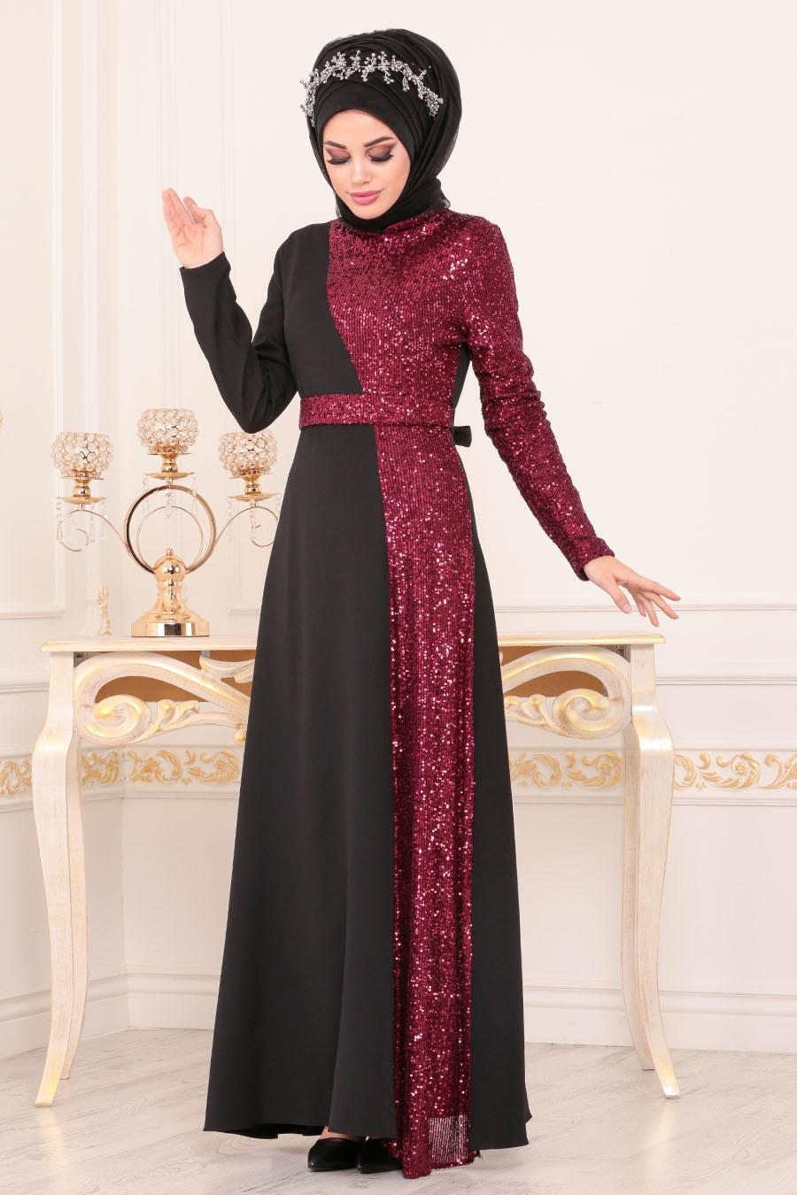 Tesettürlü Abiye Elbise - Pul Payetli Bordo Tesettür Abiye Elbise 8611BR