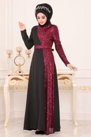 Tesettürlü Abiye Elbise - Pul Payetli Bordo Tesettür Abiye Elbise 8611BR - Thumbnail