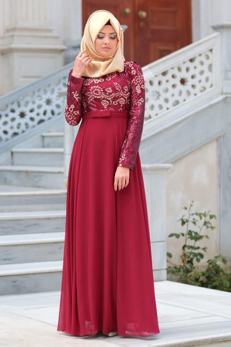 Tesettürlü Abiye Elbise - Pul Payetli Çiçek Detaylı Bordo Tesettür Abiye Elbise 7694BR