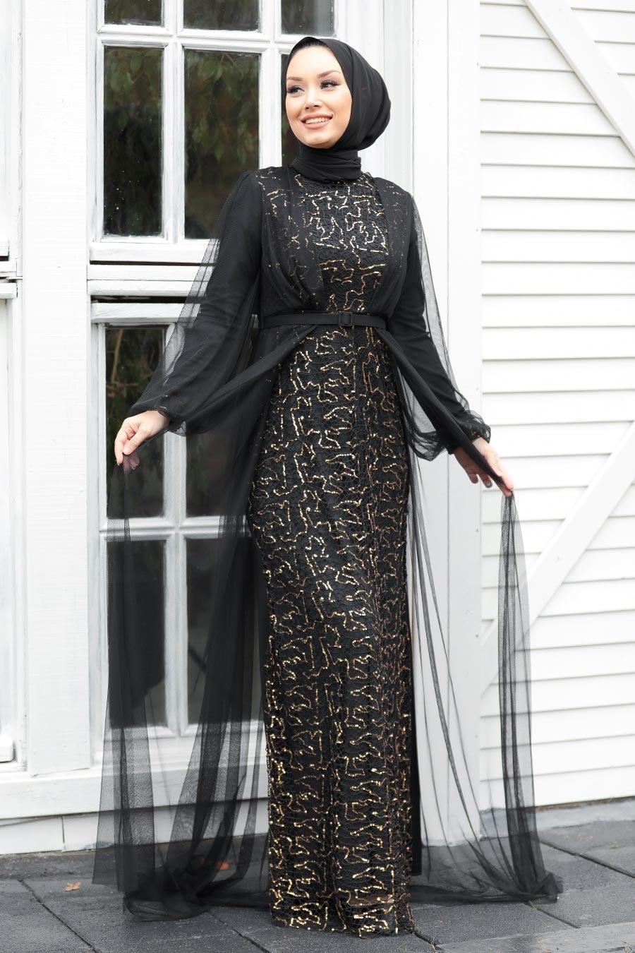 Tesettürlü Abiye Elbise - Pul Payetli Gold Tesettür Abiye Elbise 5383GOLD