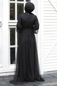 Tesettürlü Abiye Elbise - Pul Payetli Gold Tesettür Abiye Elbise 5383GOLD - Thumbnail