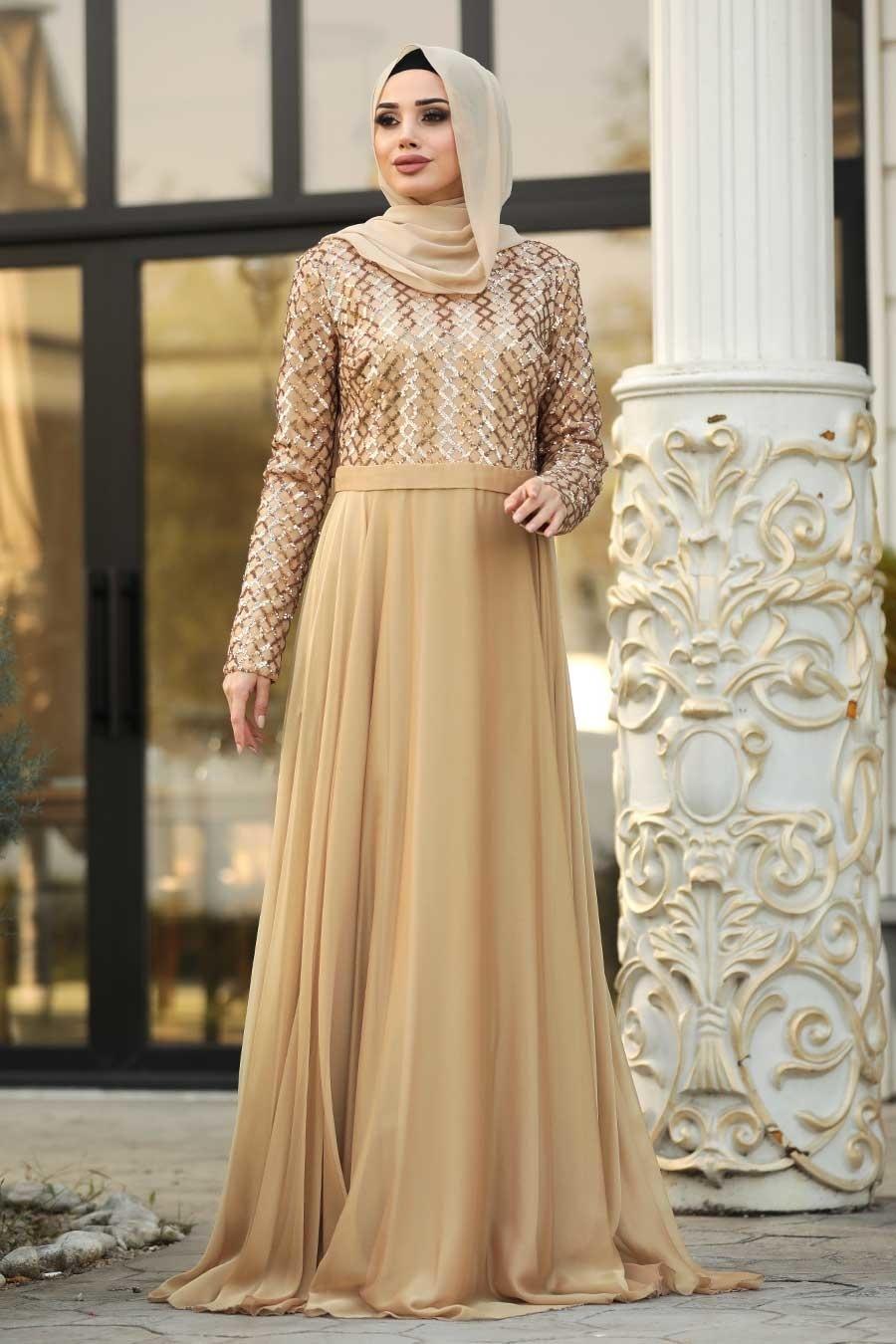 Tesettürlü Abiye Elbise - Pul Payetli Gold Tesettür Abiye Elbise 8127GOLD