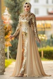 Tesettürlü Abiye Elbise - Pul Payetli Gold Tesettür Abiye Elbise 9111GOLD - Thumbnail