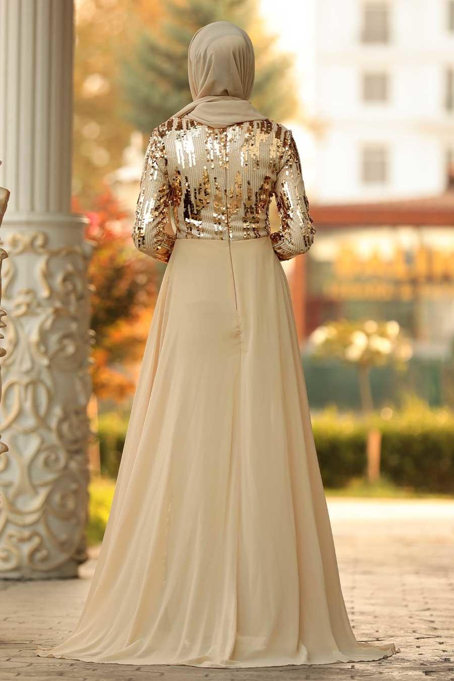 Tesettürlü Abiye Elbise - Pul Payetli Gold Tesettür Abiye Elbise 9111GOLD
