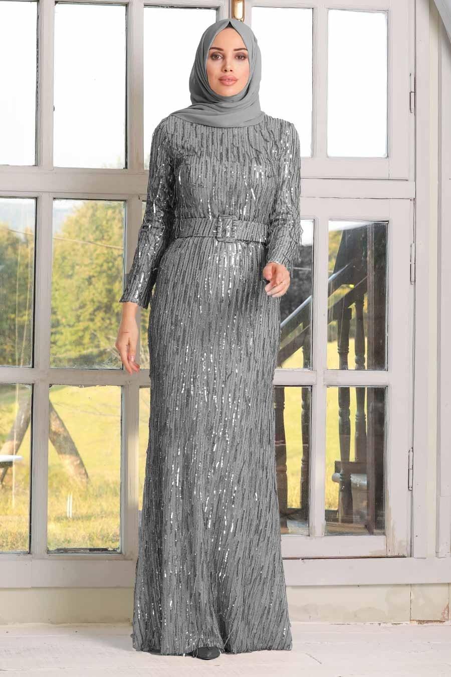 Tesettürlü Abiye Elbise - Pul Payetli Gri Tesettür Abiye Elbise 3447GR