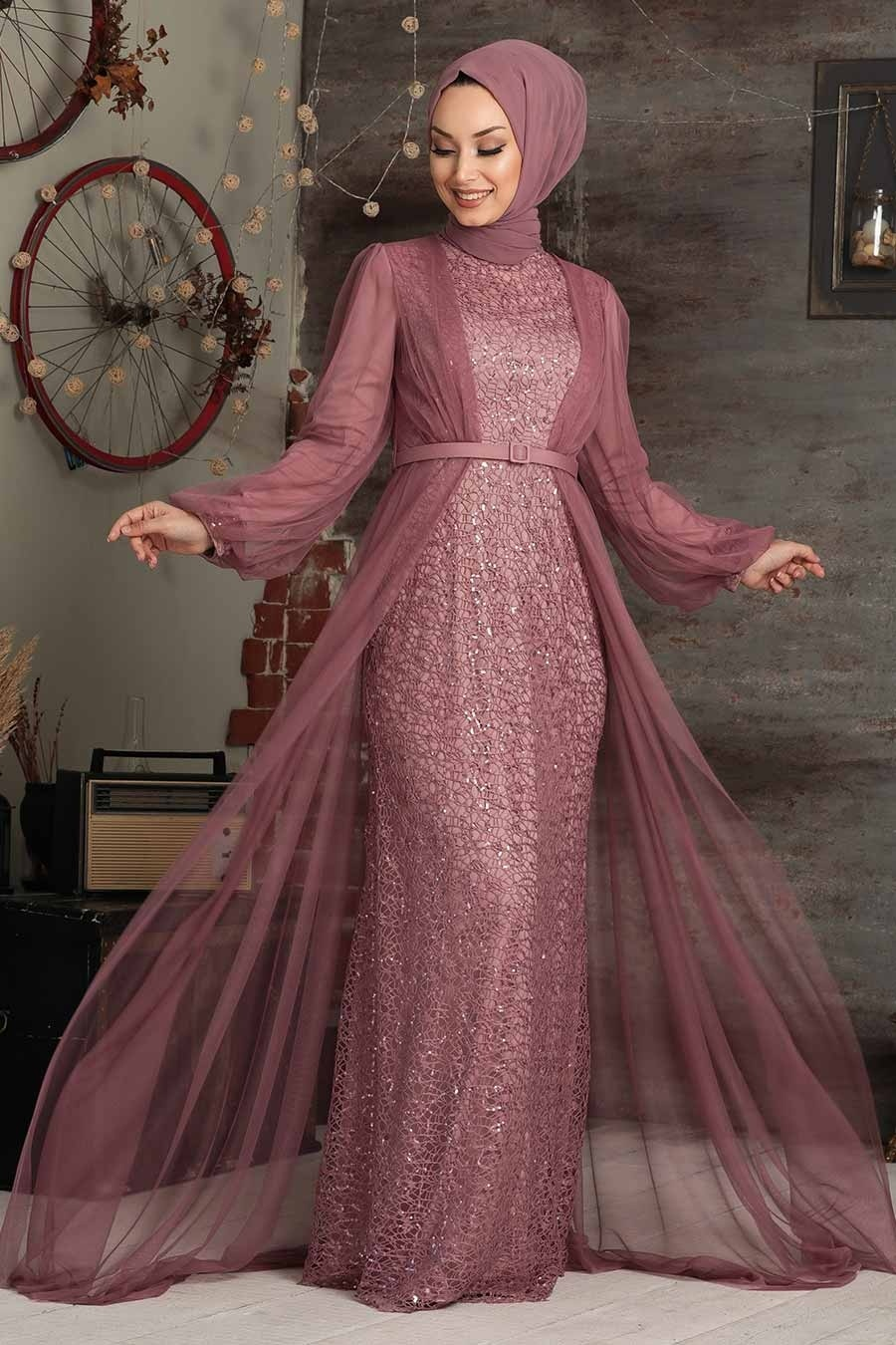 Tesettürlü Abiye Elbise - Pul Payetli Gül Kurusu Tesettür Abiye Elbise 5383GK
